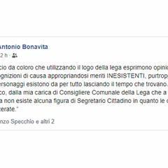 Dichiarazioni Facebook Antonio Bonavita
