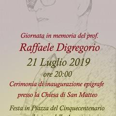 Locandina in onore al prof Digregorio