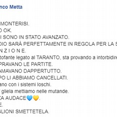 Post Facebook Sindaco Metta