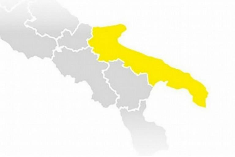 Puglia in zona gialla