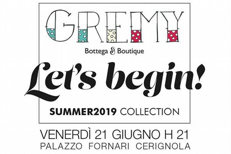 """Presentazione della Collezione Estate 2019 del marchio  """"Gremy"""", sfilata di moda a Palazzo Fornari."""