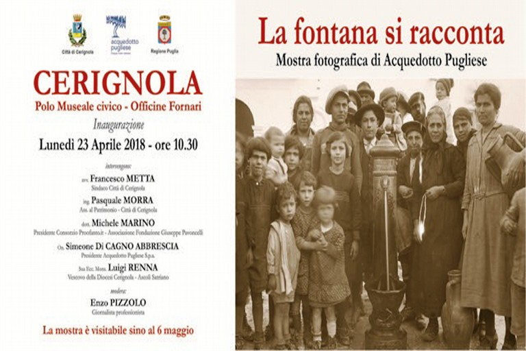 """""""La fontana si racconta"""", convegno, inaugurazione e mostra a Cerignola"""